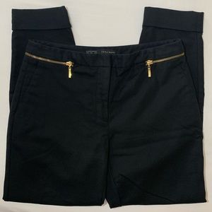 Zara Black Ankle Pants with Zipper Detailing